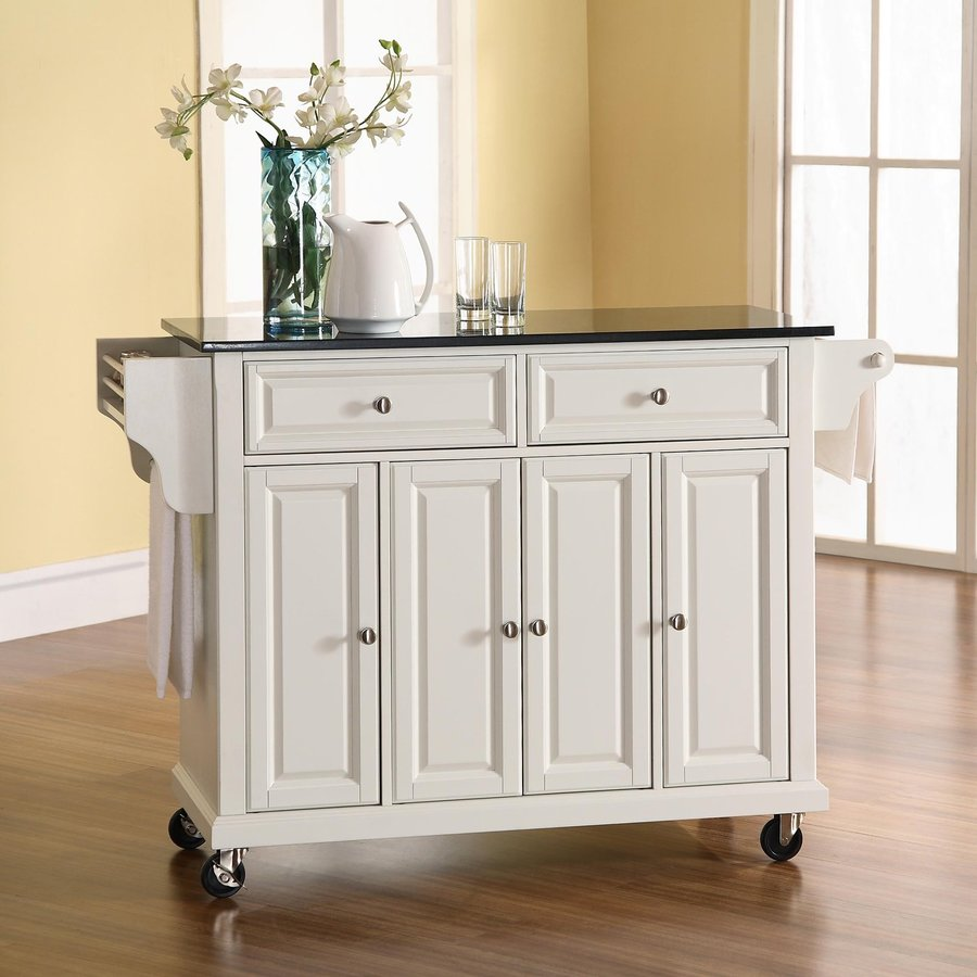 Shop crosley furniture 48 in l x 18 in w x 36 in h white for Kitchen cabinets 36 x 18