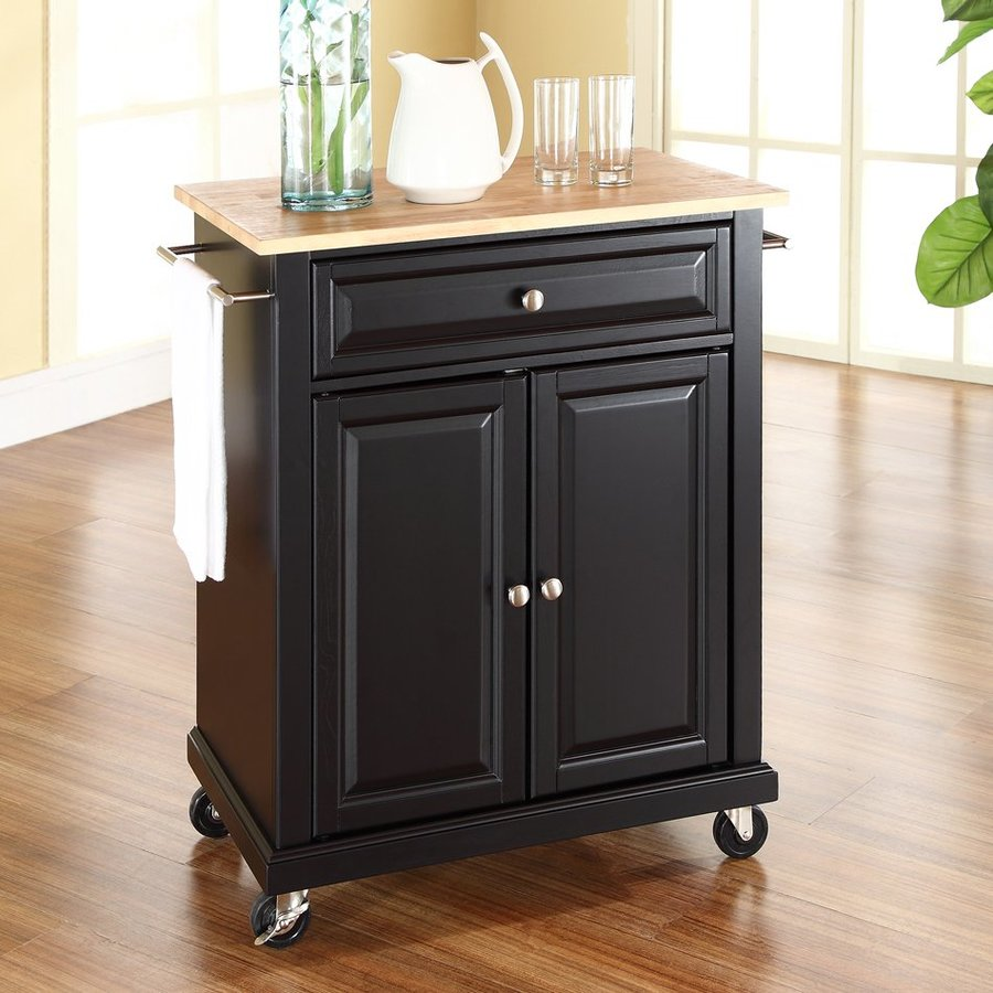 Crosley Furniture 28.25-in L x 18-in W x 36-in H Black Kitchen Island with Casters