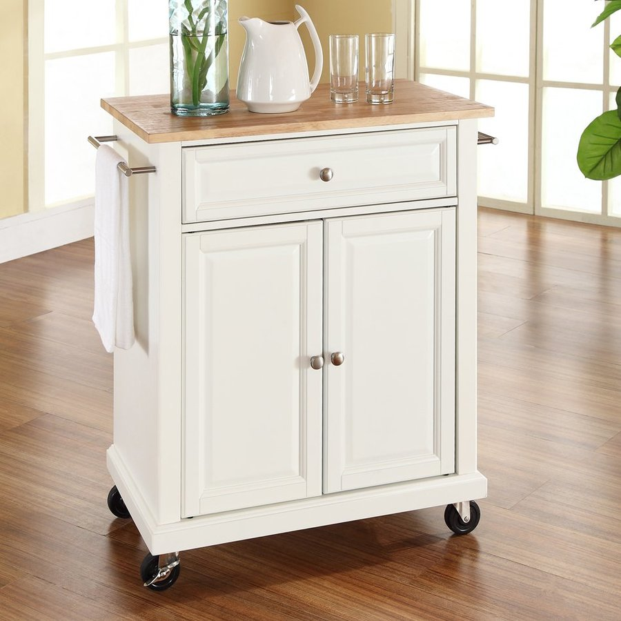 Crosley Furniture 28.25-in L x 18-in W x 36-in H White Kitchen Island with Casters