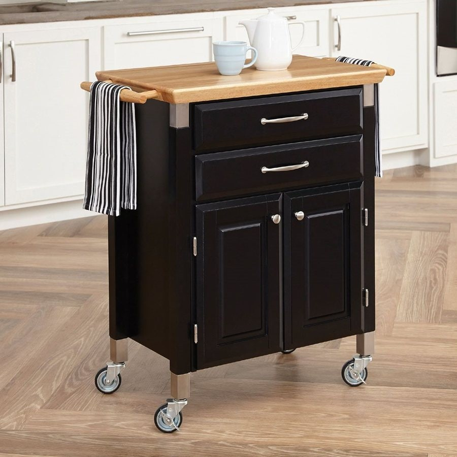 Home Styles 33.75-in L x 18.5-in W x 36-in H Black Kitchen Island with Casters