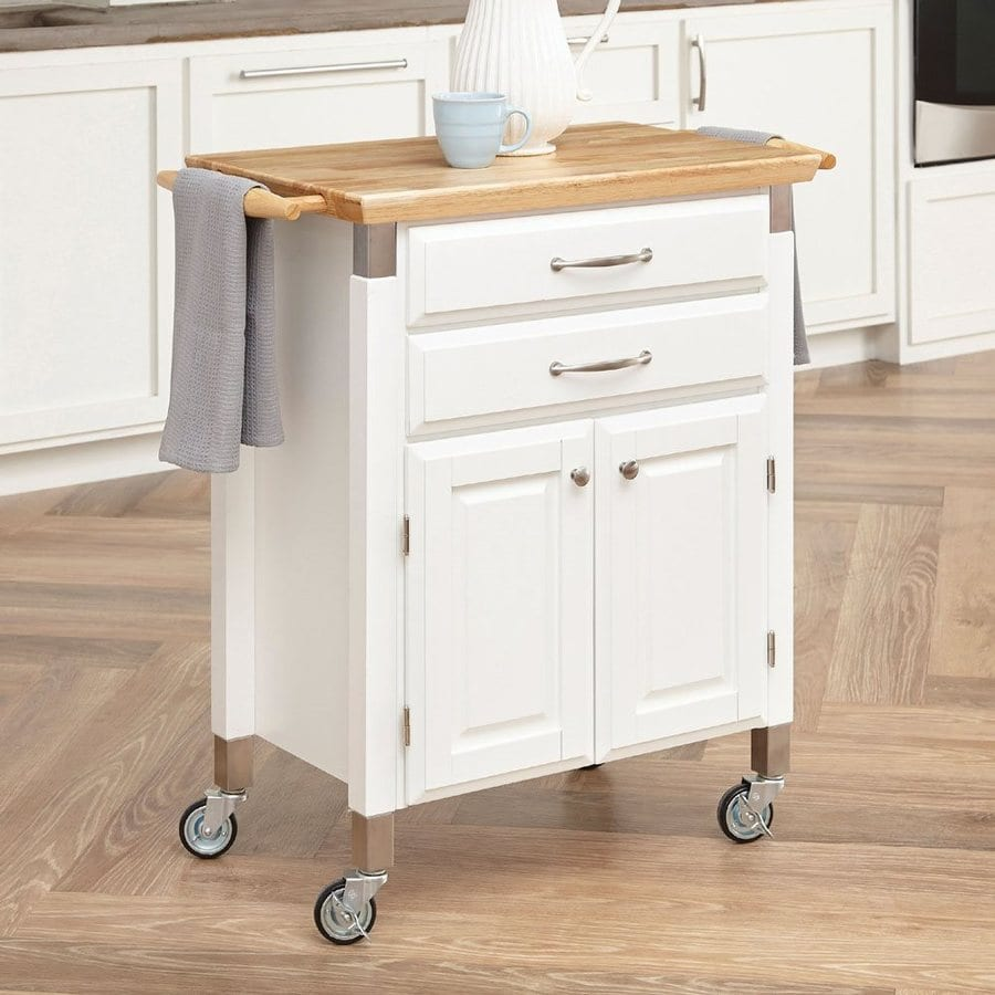 Shop Home Styles White Farmhouse Kitchen Islands At Lowes Com: Shop Home Styles 33.75-in L X 18.5-in W X 36-in H White