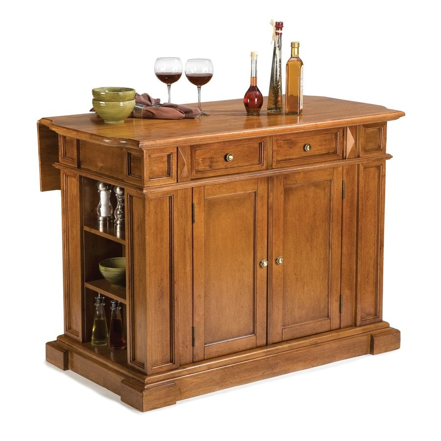 Shop Home Styles Black Scandinavian Kitchen Carts At Lowes Com: Shop Home Styles 48-in L X 25-in W X 36-in H Cottage Oak