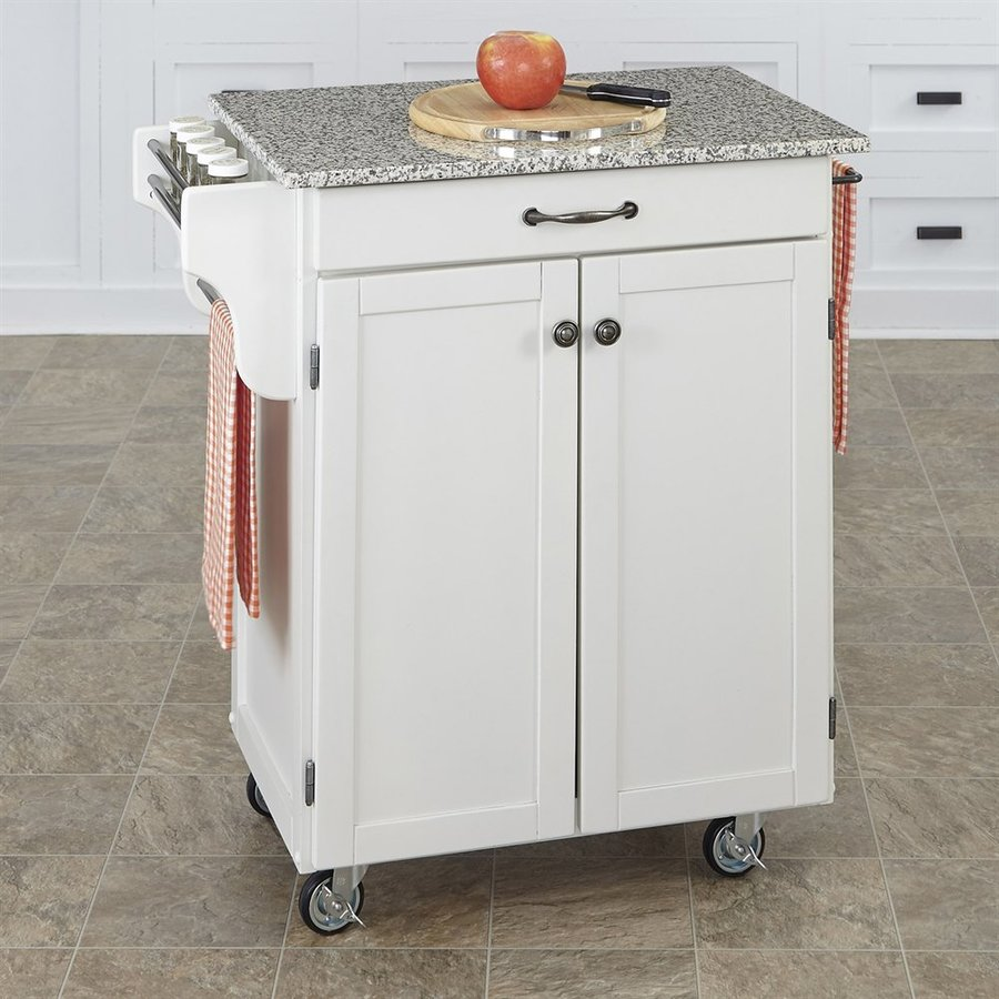 Home Styles 32.5-in L x 18.75-in W x 35.5-in H White Kitchen Island Casters