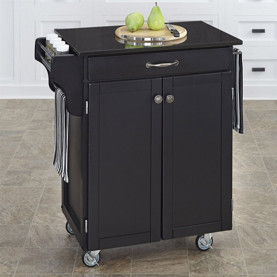 Home Styles 32.5-in L x 18.75-in W x 35.5-in H Black Kitchen Island Casters