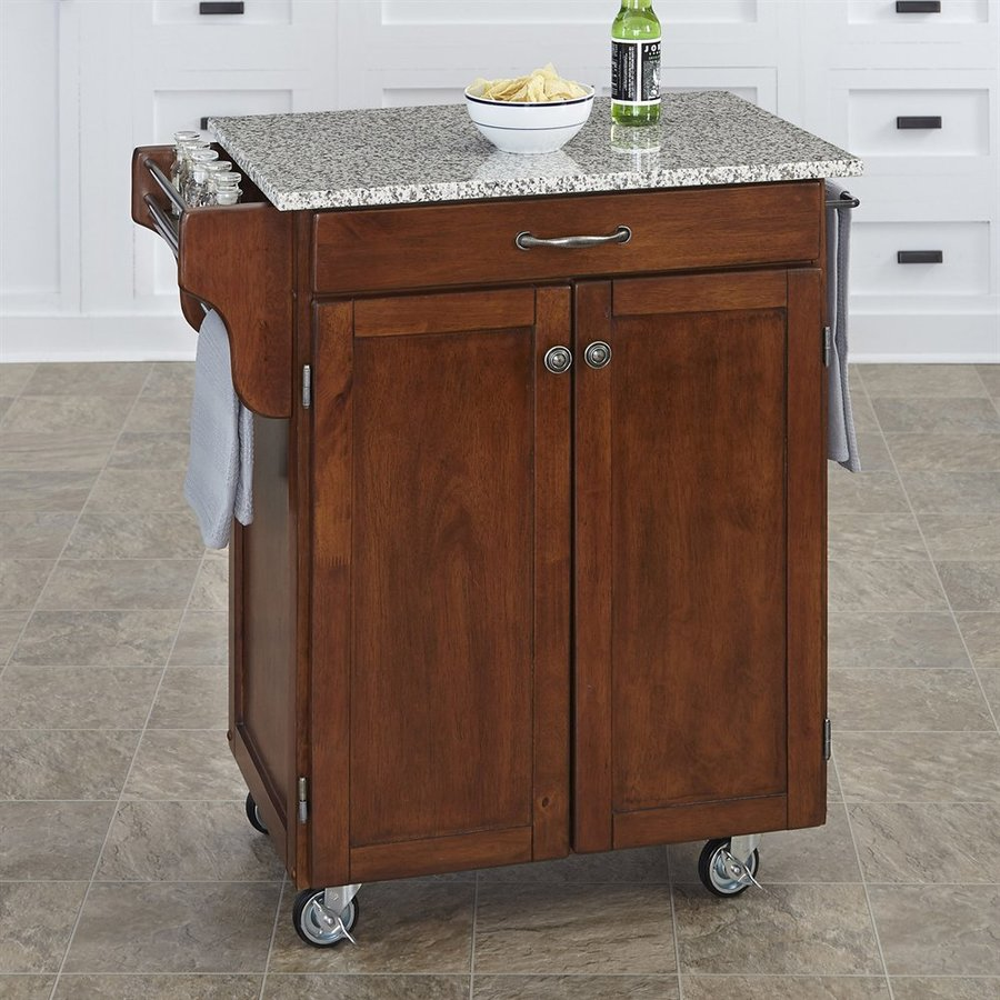 Home Styles 32.5-in L x 18.75-in W x 35.5-in H Medium Cherry Kitchen Island Casters