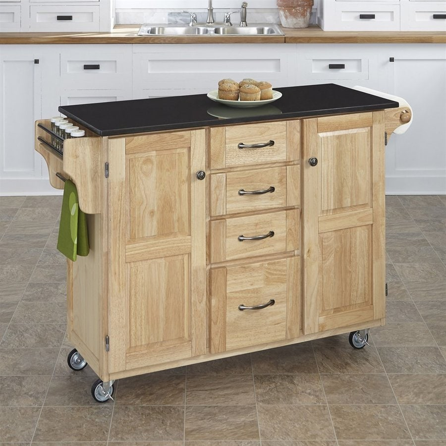 Home Styles 52.5-in L x 18-in W x 35.75-in H Natural Kitchen Island Casters