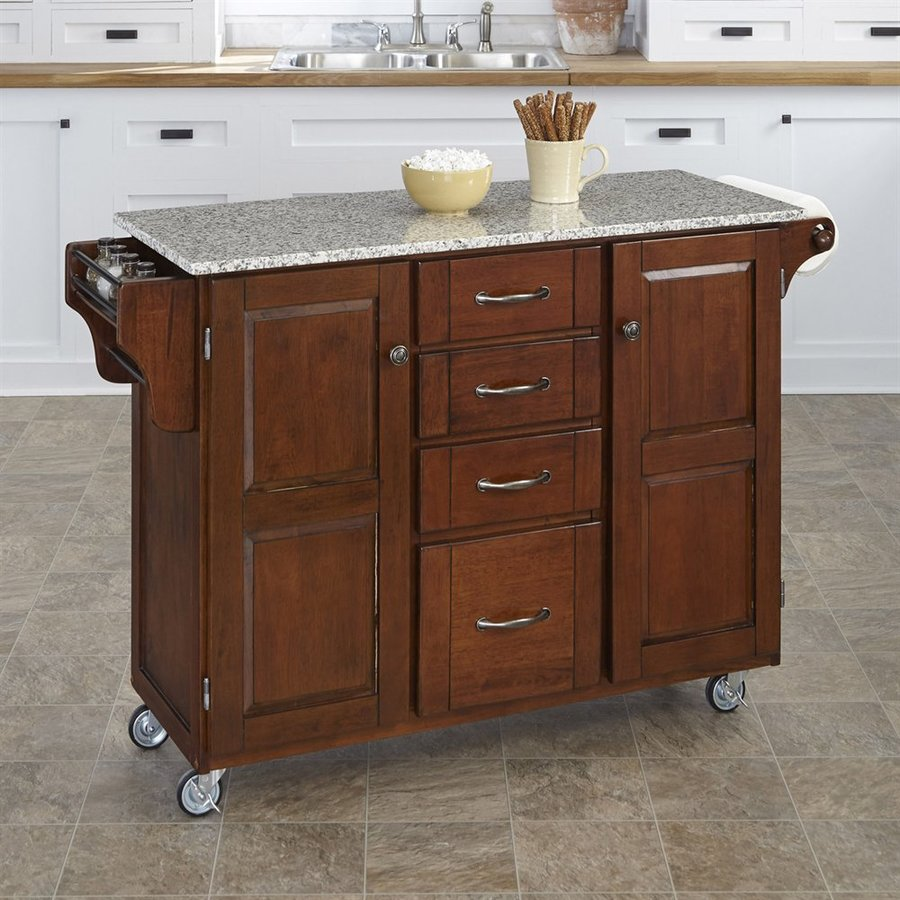 Home Styles 52.5-in L x 18-in W x 35.75-in H Medium Cherry Kitchen Island Casters
