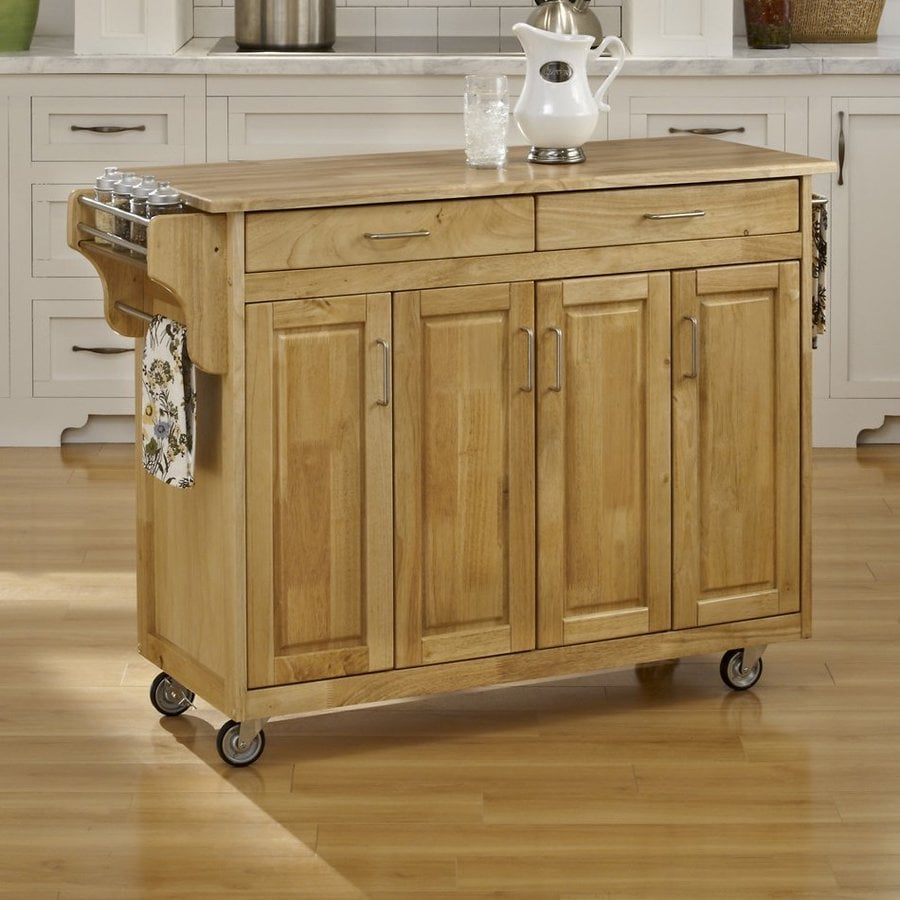 Home Styles 48.75-in L x 17.75-in W x 34.75-in H Natural Kitchen Island Casters