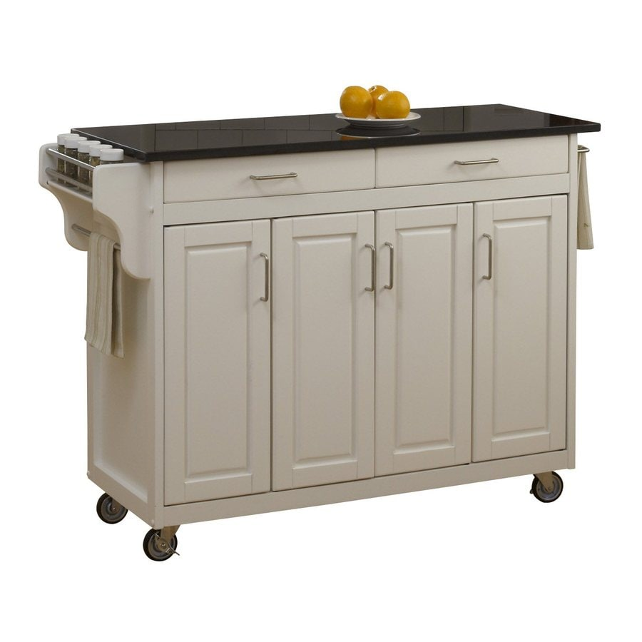 Home Styles 48.75-in L x 17.75-in W x 34.75-in H White Kitchen Island Casters