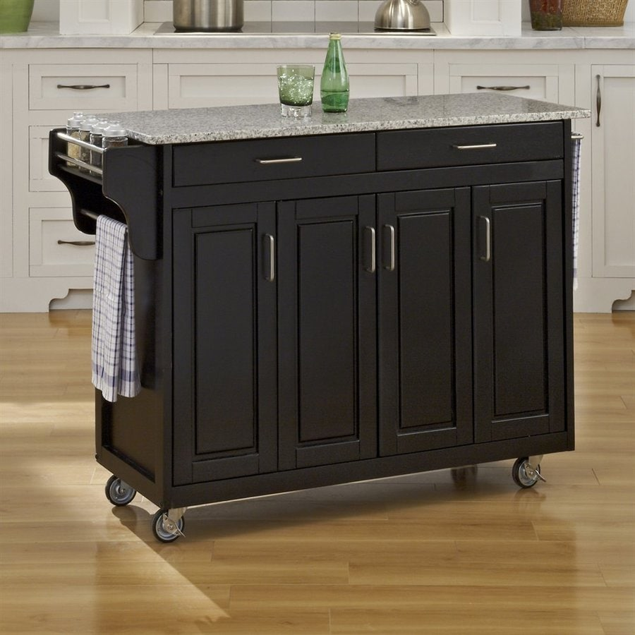 Home Styles 48.75-in L x 17.75-in W x 34.75-in H Black Kitchen Island Casters