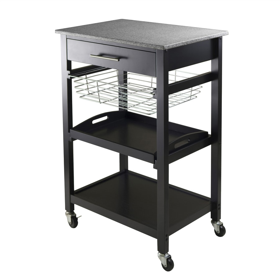 Winsome Wood 22.68-in L x 16-in W x 34.13-in H Black Kitchen Island with Casters