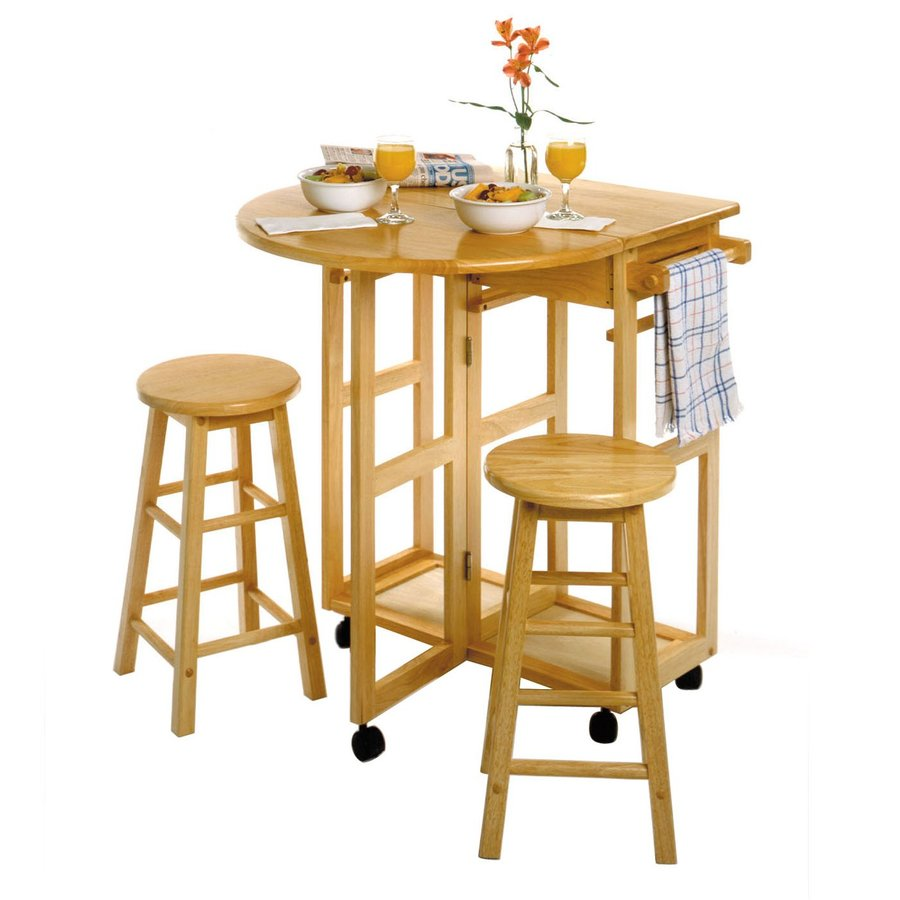 Winsome Wood 29.7-in L x 29.29-in W x 32.79-in H Natural Kitchen Island with Casters and 2 Stools