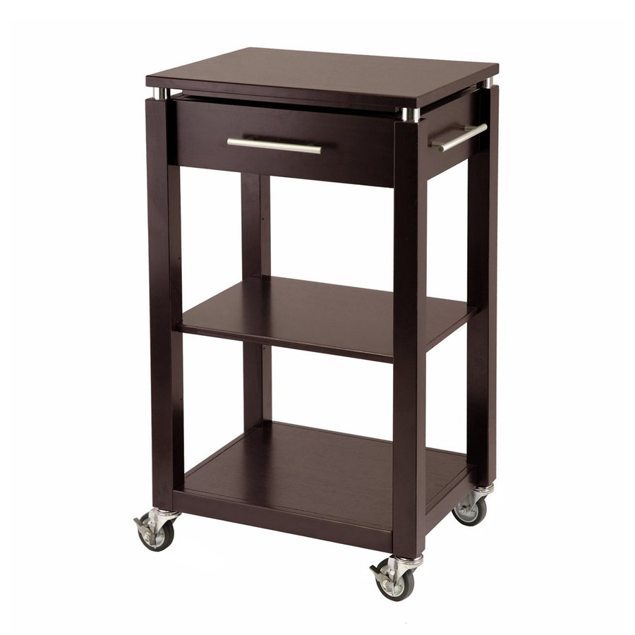 Winsome Wood 21.75-in L x 15.75-in W x 35-in H Chrome/Dark Espresso Kitchen Island with Casters