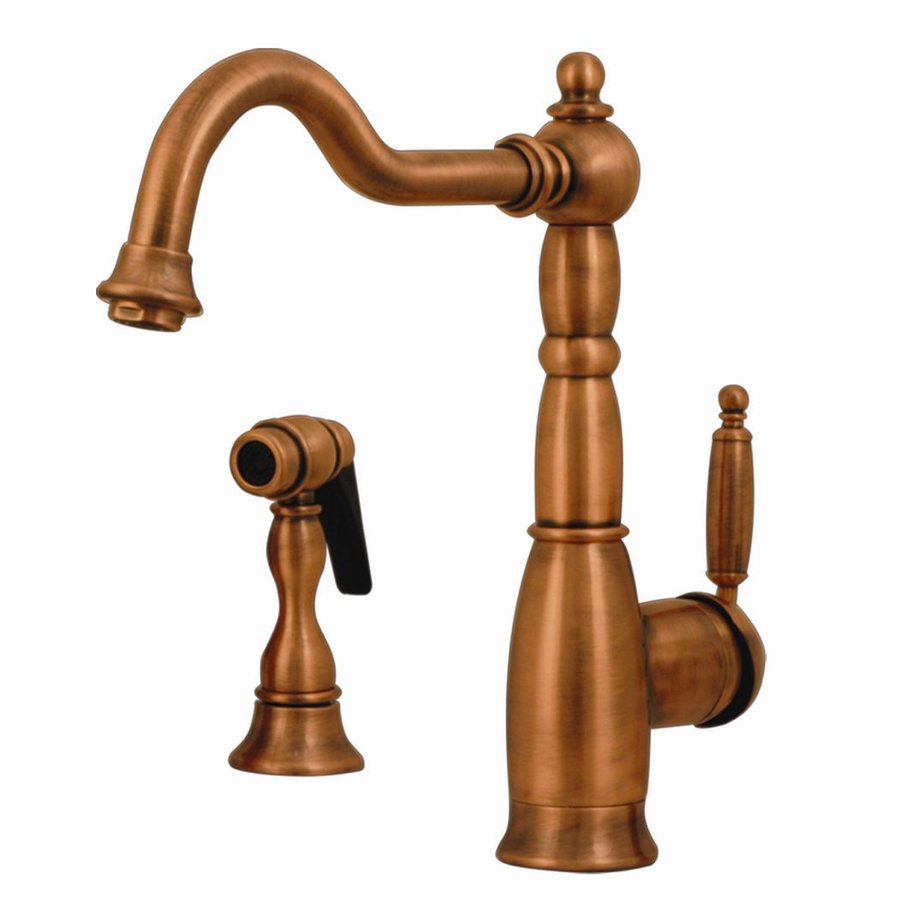 Whitehaus Collection Essexhaus Antique Copper 1-Handle Low-Arc Kitchen Faucet with Side Spray