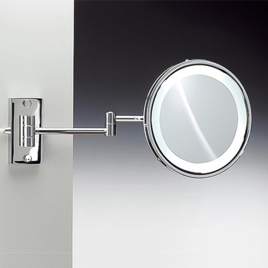 Nameeks Windisch Chromed Brass 5x Magnifying Wall-Mounted Single Face Vanity Mirror with Hardwired Light Included