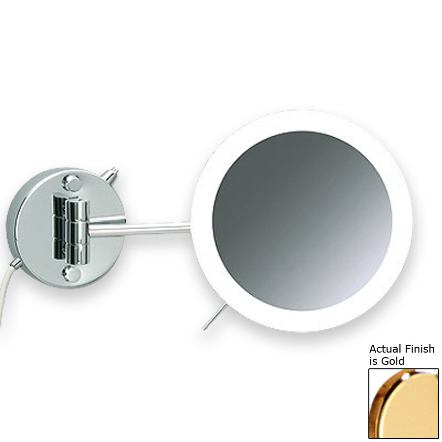 Shop Nameeks Windisch Gold Brass 3x Magnifying Wall-Mounted Vanity Mirror with Hardwired Light ...
