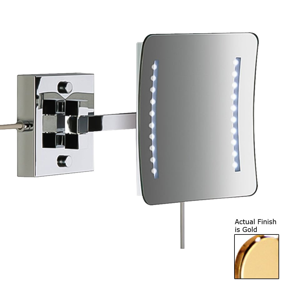 Nameeks Windisch Gold Brass 3x Magnifying Rectangular Wall-Mounted Single Face Vanity Mirror with Hardwired Light Included