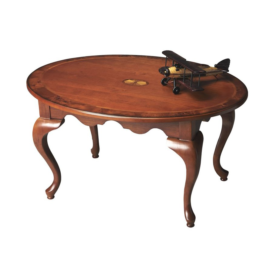 Butler Specialty Masterpiece Olive Ash Burl Finish Rubberwood Oval Coffee Table