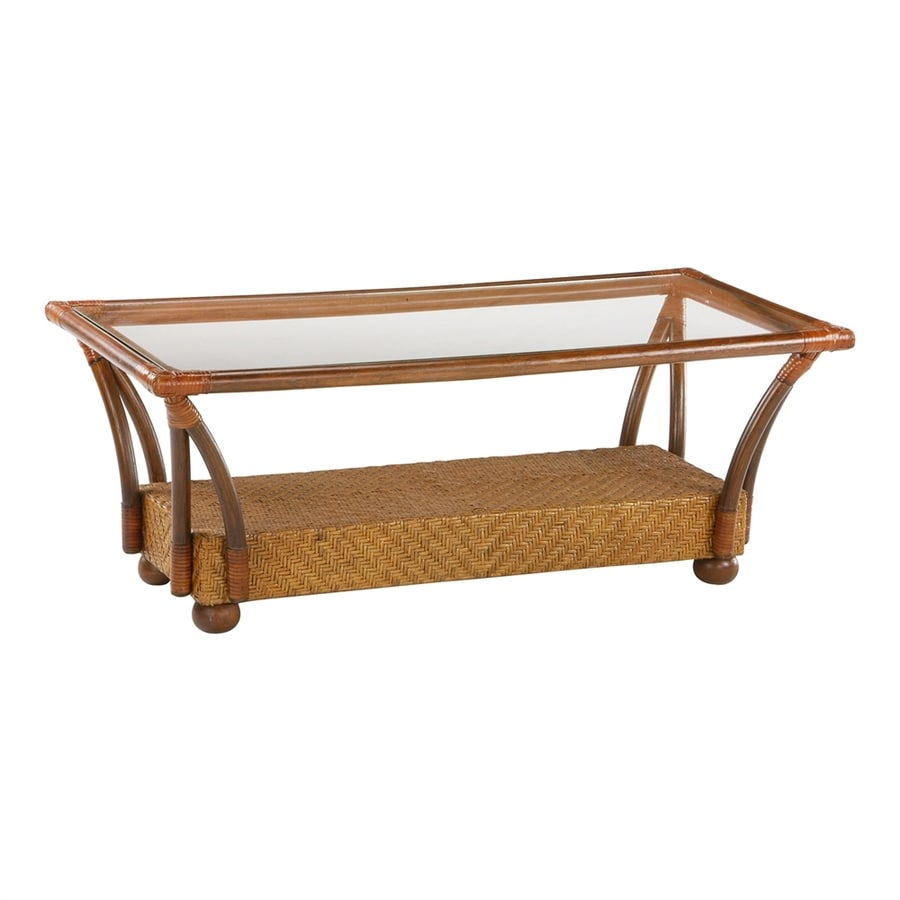 Night & Day Furniture Rattan Floral Honey Glaze Rectangular Coffee Table