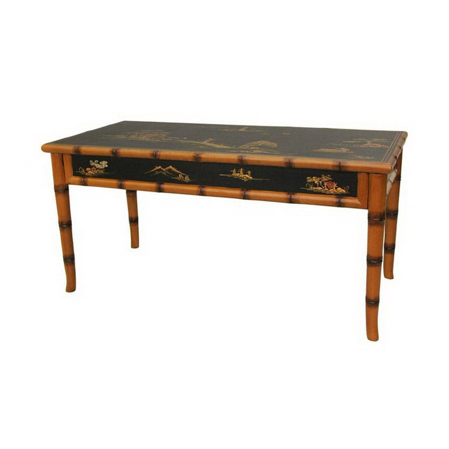 Oriental Furniture Black Lacquer Rectangular Coffee Table