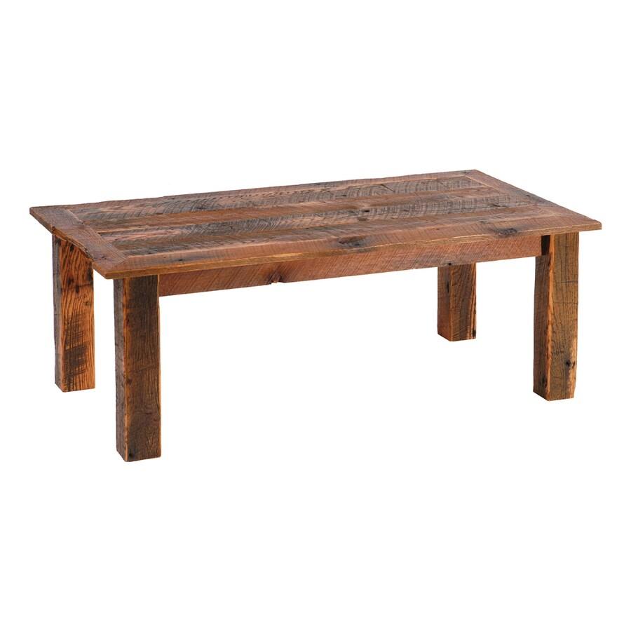 Shop fireside lodge furniture barnwood oak rectangular for Barnwood coffee table