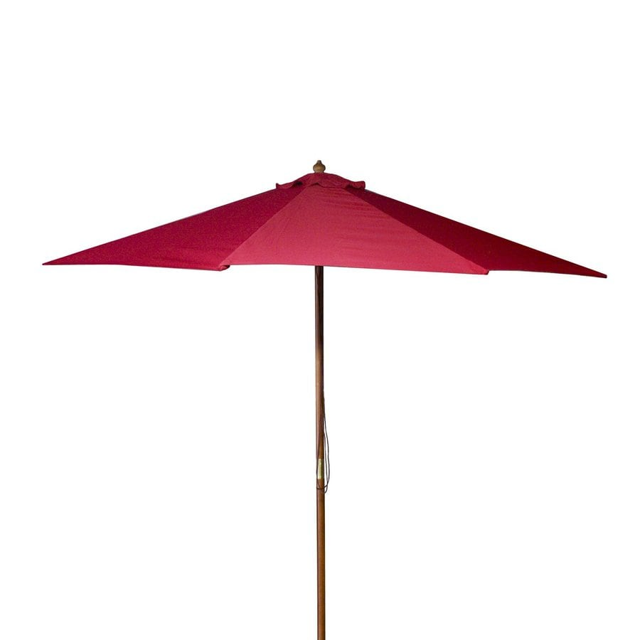 Jordan Manufacturing Red Market Patio Umbrella (Common: 9-ft W x 9-ft L; Actual: 9-ft W x 9-ft L)