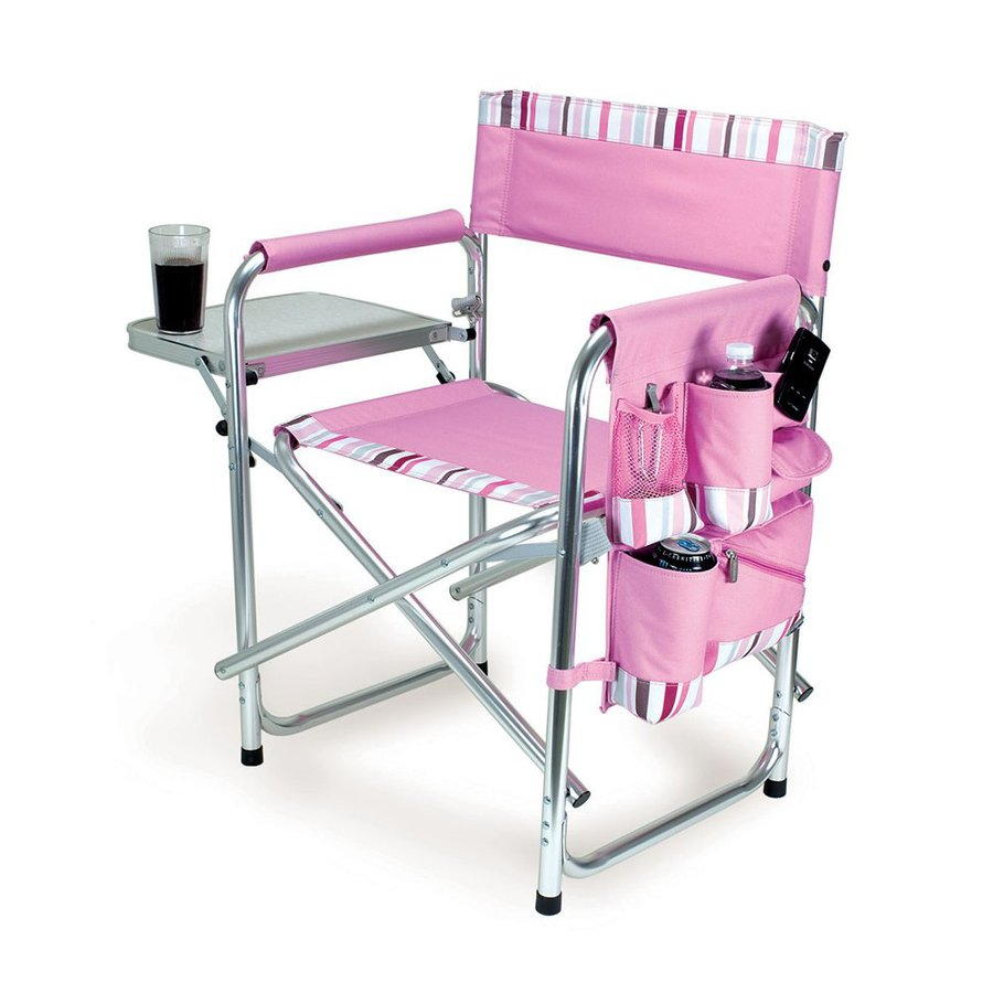 Picnic Time Pink Aluminum Folding Camping Chair