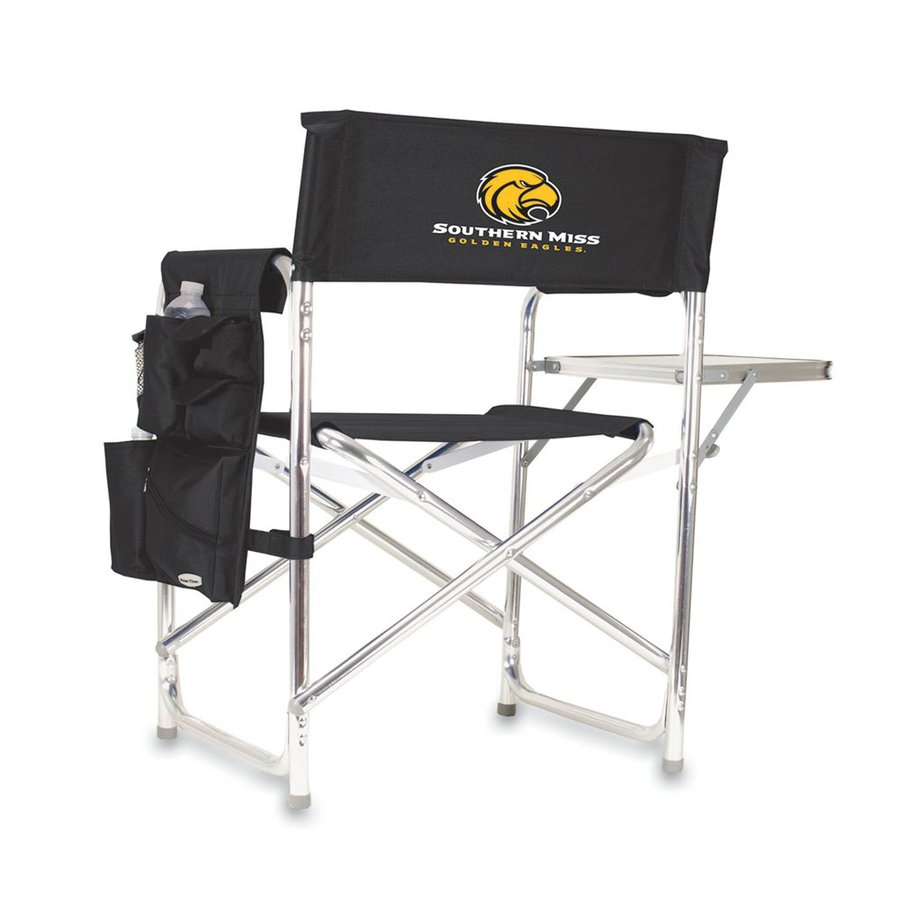 Picnic Time Black NCAA Southern Miss Golden Eagles Aluminum Folding Camping Chair