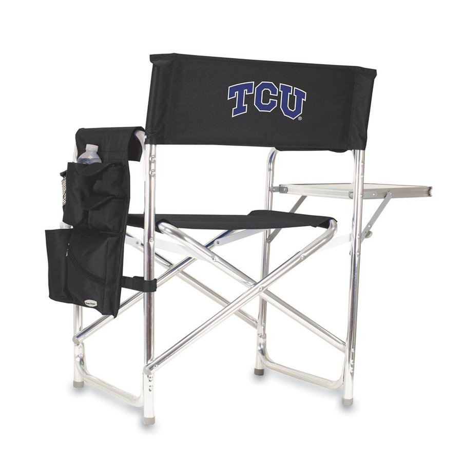 Picnic Time Black NCAA Texas Christian University Horned Frogs Aluminum Folding Camping Chair