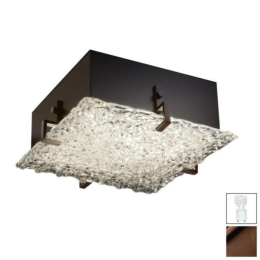 Cascadia Lighting 16.5-in W Dark Bronze Art Glass Ceiling Flush Mount