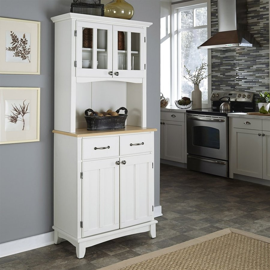 Shop Home Styles White Scandinavian Kitchen Carts At Lowes Com: Shop Home Styles White/Natural Rectangular Kitchen Hutch