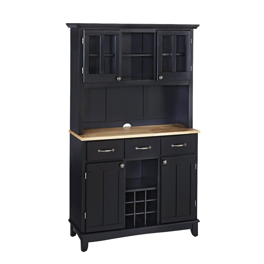 Home Styles Black/Natural Rectangular China Cabinet