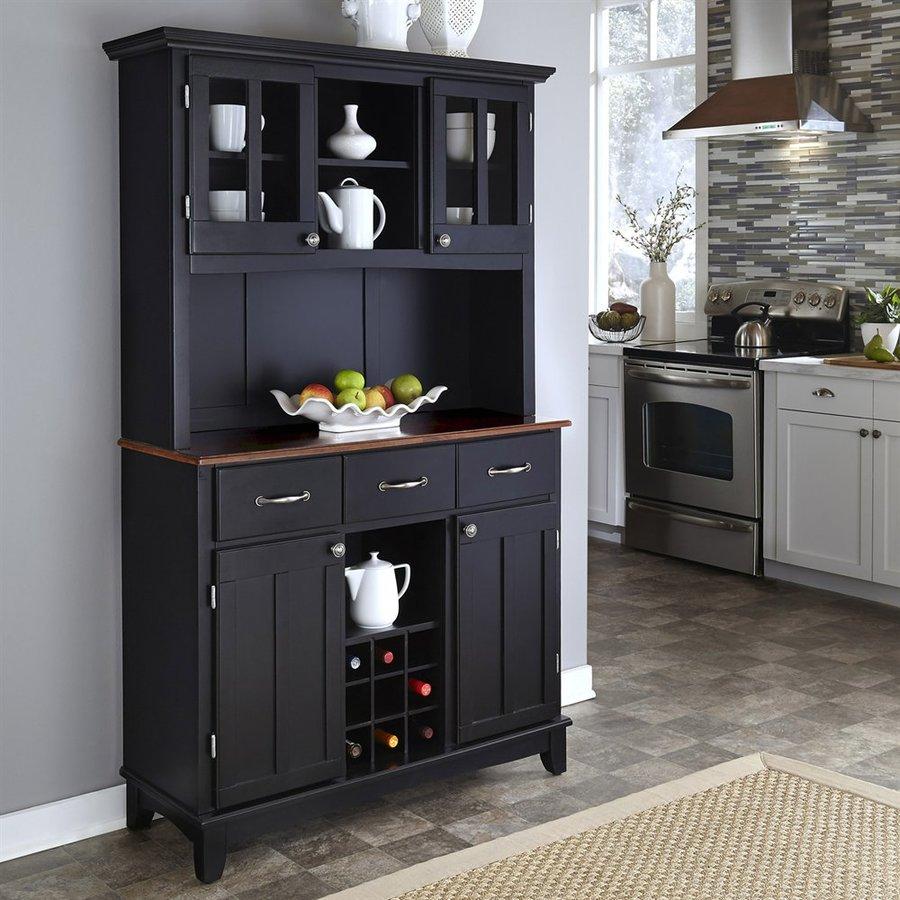 Home Styles Black/Medium Cherry Rectangular China Cabinet