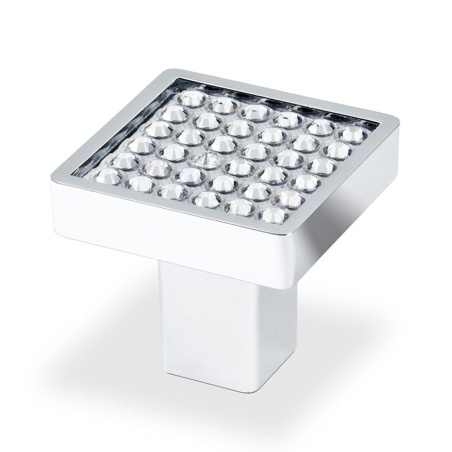 Shop topex hardware swarovski crystal bright chrome square for Square kitchen cabinet knobs