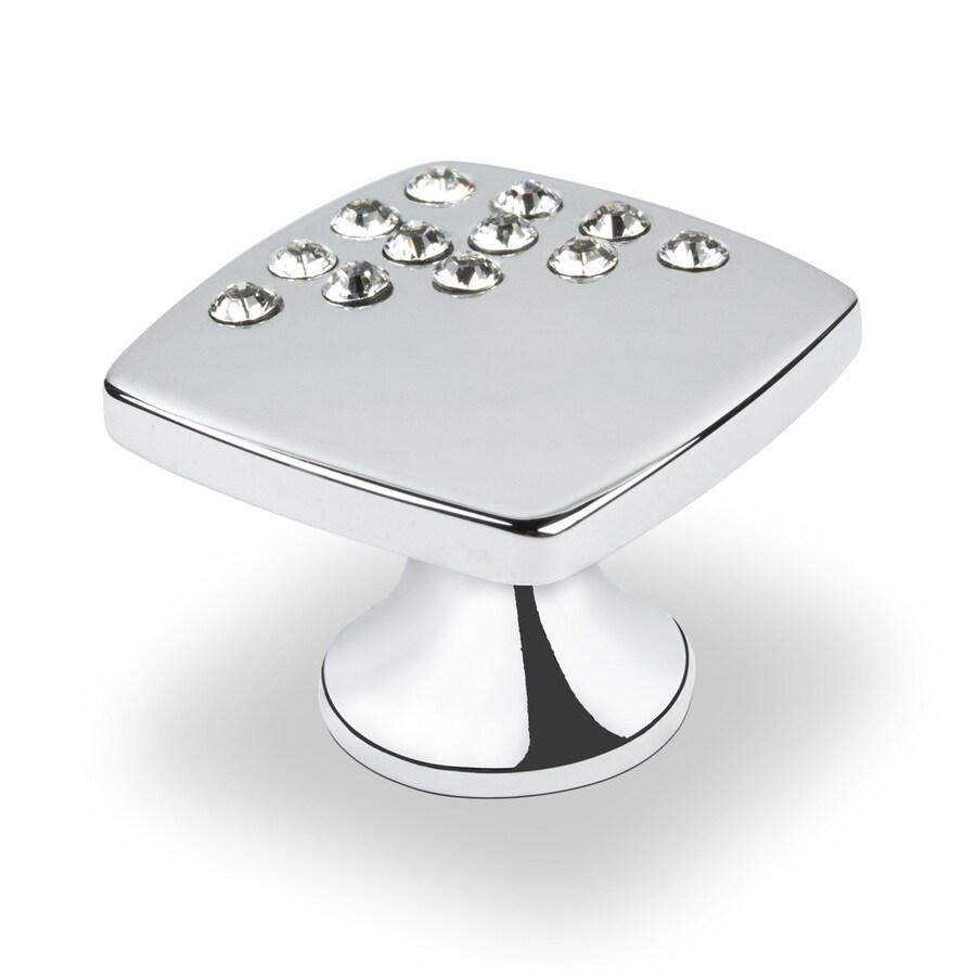 Topex Hardware Swarovski Crystal Bright Chrome Square Cabinet Knob