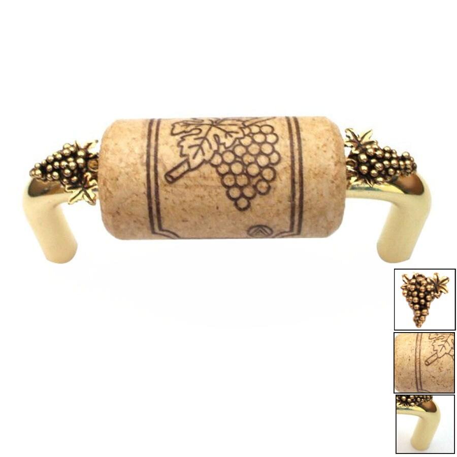 Vine Designs 3-in Center-to-Center Brass Vineyard Novelty Cabinet Pull
