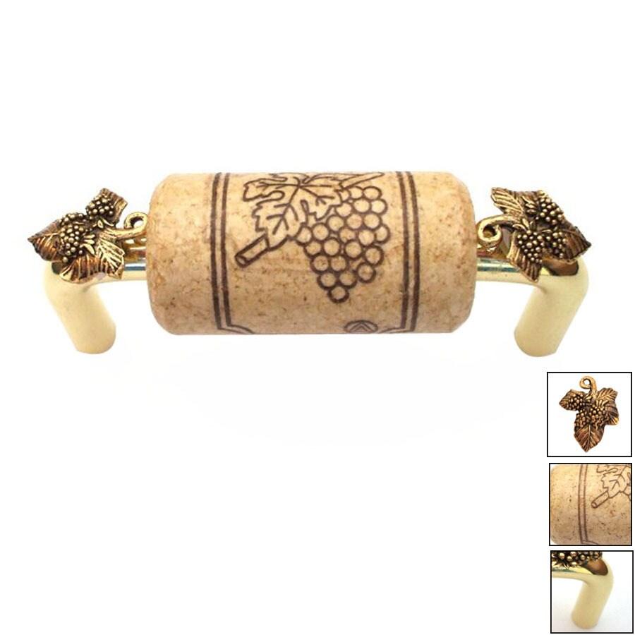 Vine Designs 4-in Center-to-Center Brass Vineyard Novelty Cabinet Pull