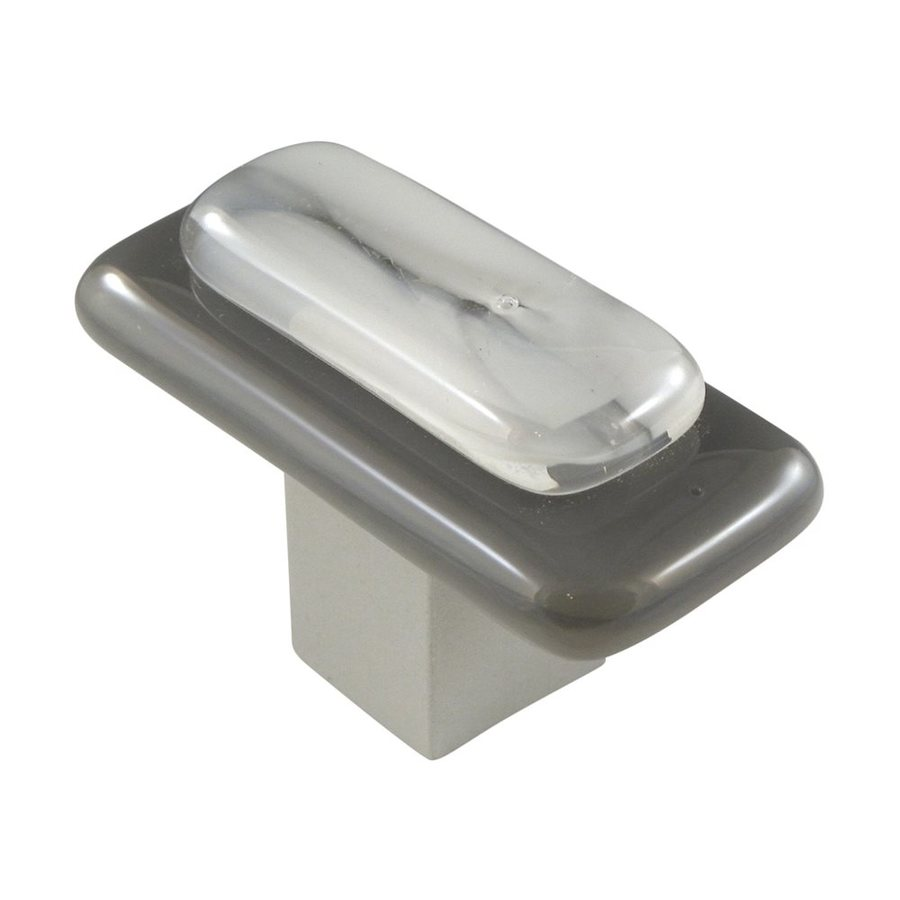 Grace White Glass Satin Nickel Layers Rectangular Cabinet Knob