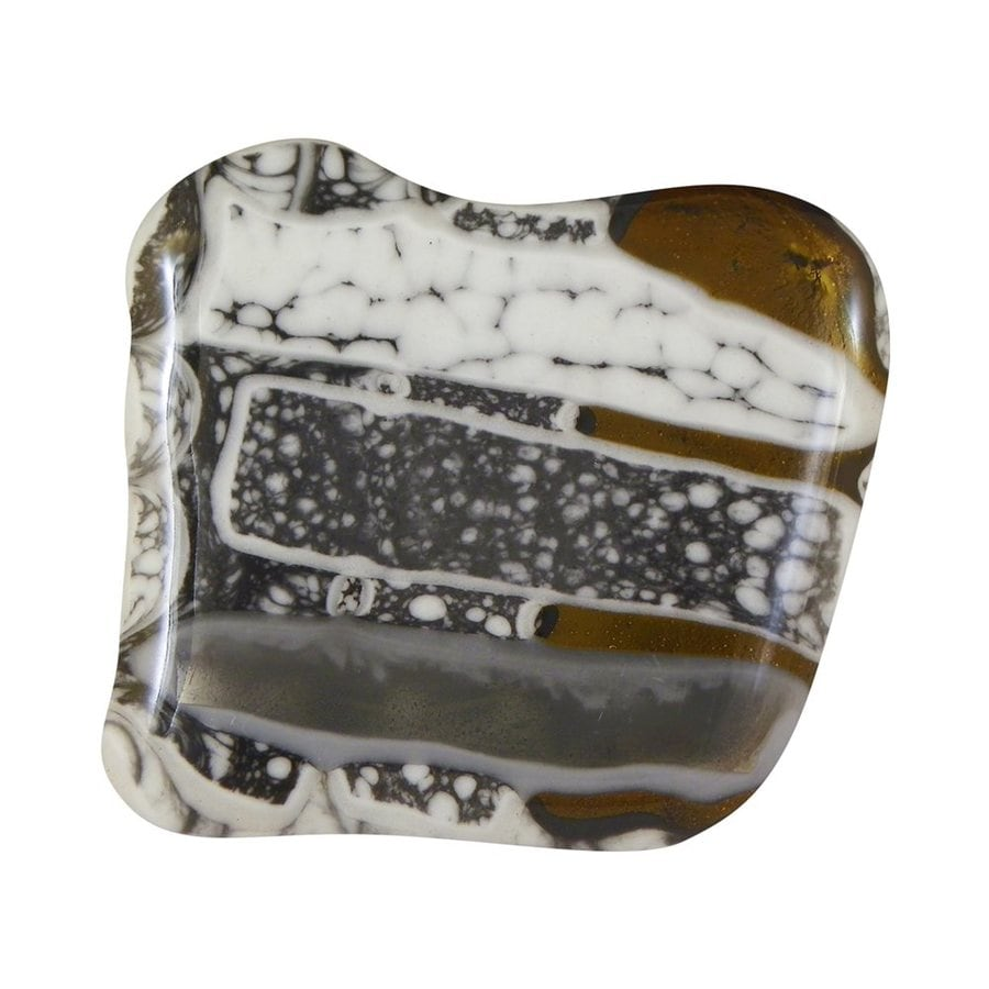 Grace White Glass 1-1/2-in Satin Nickel Puddles Novelty Cabinet Knob