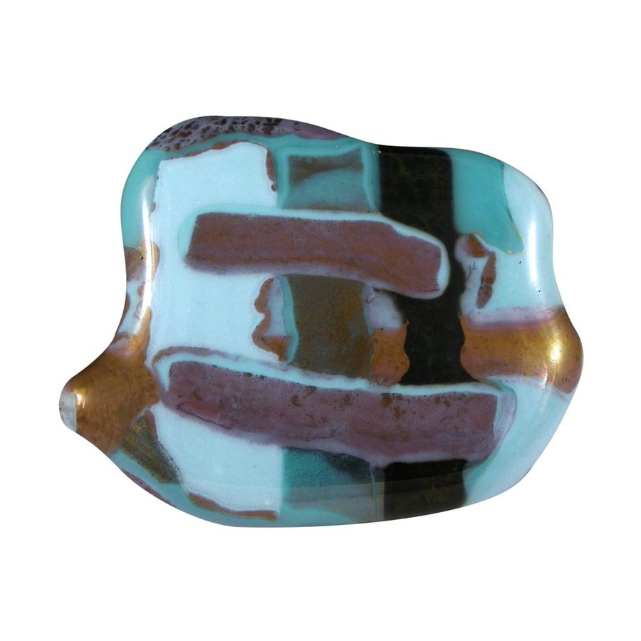 Grace White Glass 1-1/2-in Satin Black Puddles Novelty Cabinet Knob