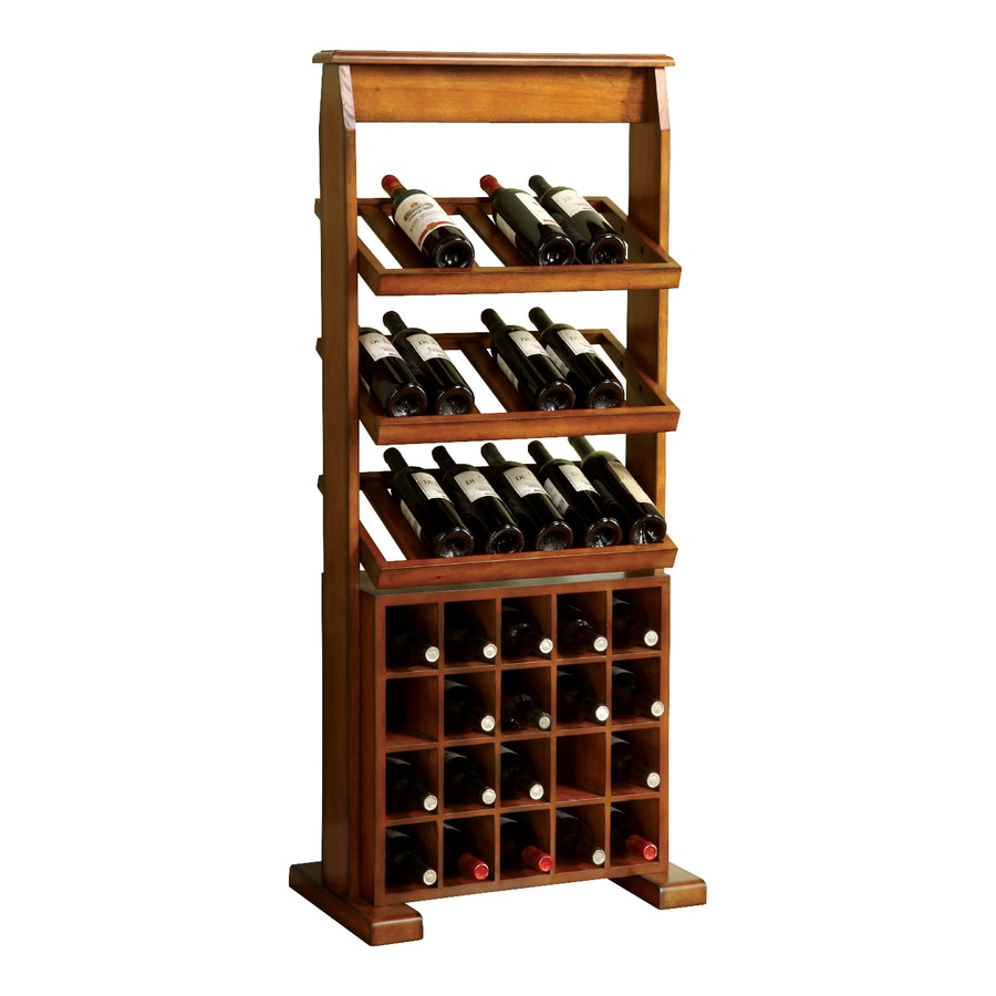 shop furniture of america guarda 38 bottle antique oak