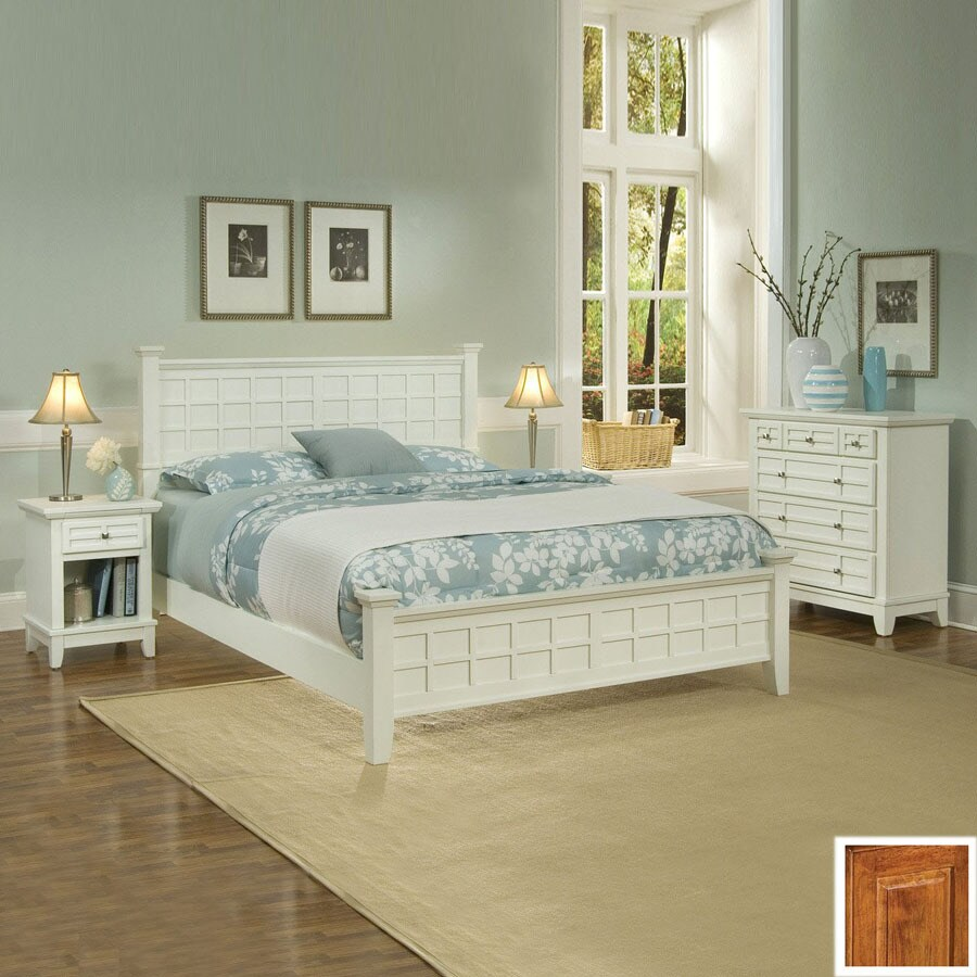 Shop home styles arts and crafts cottage oak queen bedroom for Bedroom furniture 28117