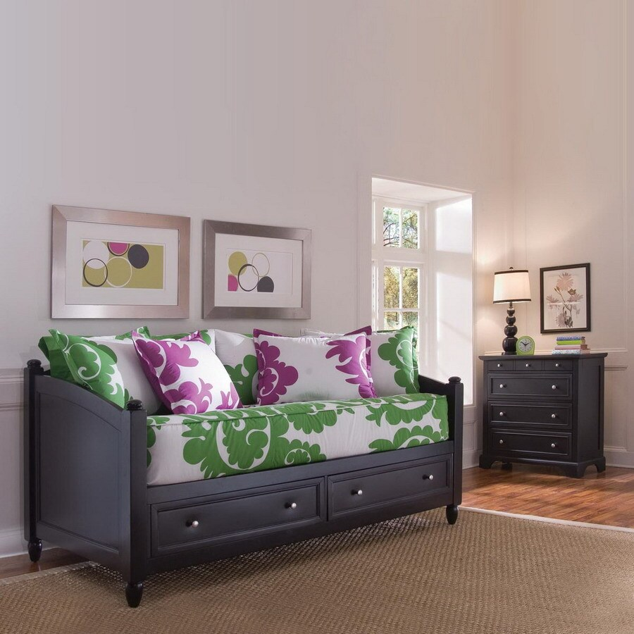 Shop home styles bedford black twin bedroom set at for Bedroom furniture 28117
