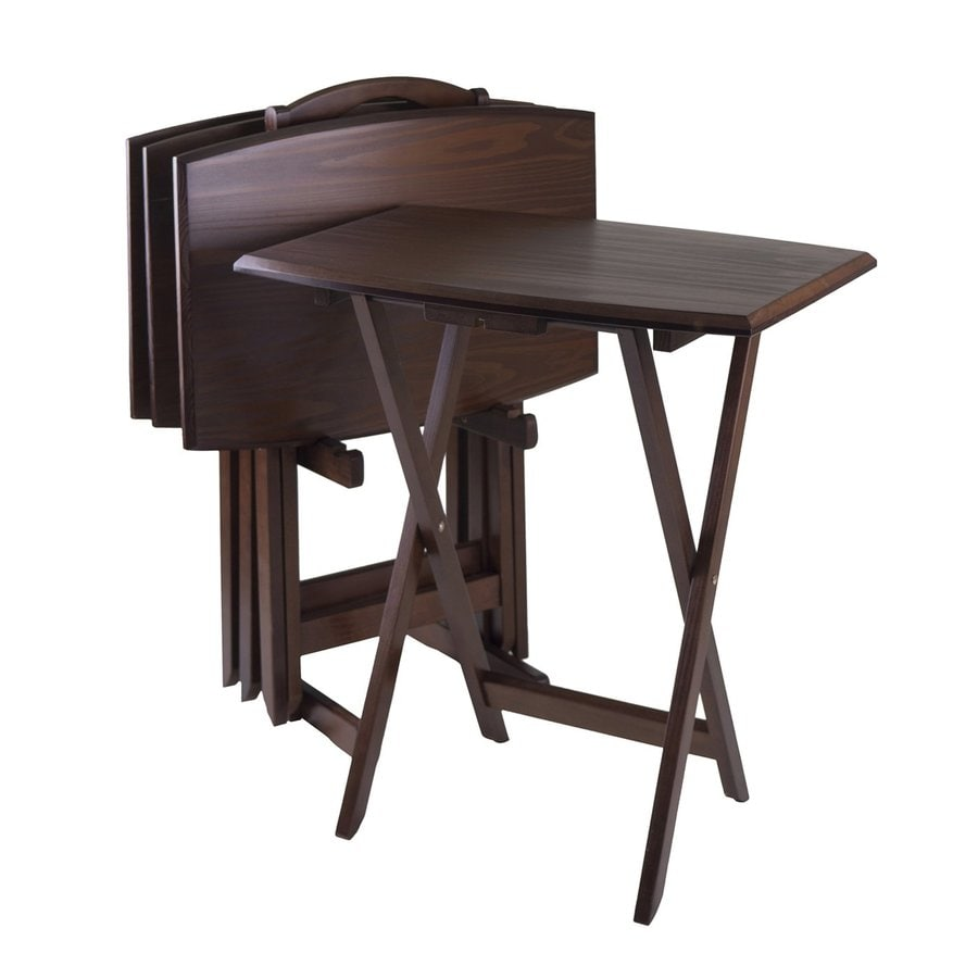 Winsome Wood 23.75-in x 15.75-in Other Wood Antique Walnut Folding Table