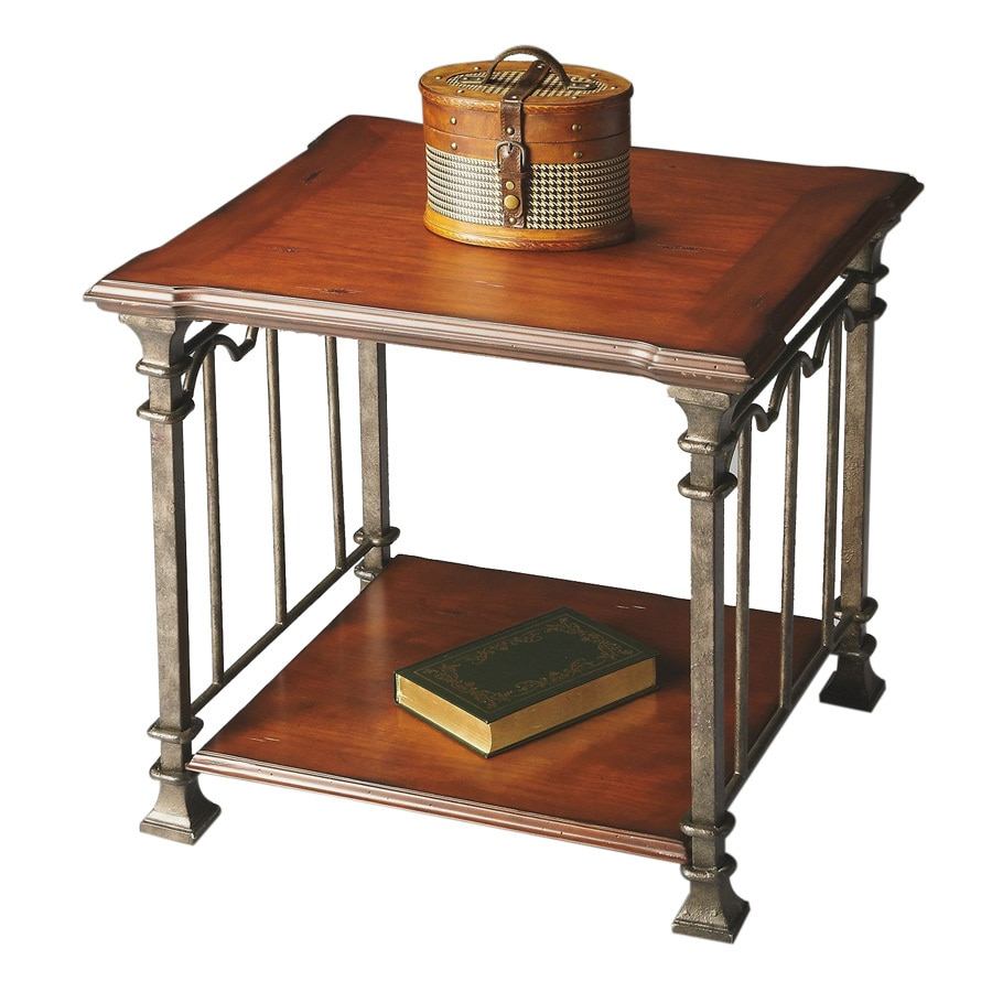 Butler Specialty Metalworks Cherry/Pewter Metal Rectangular End Table