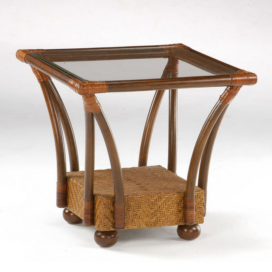 Night & Day Furniture Rattan Floral Honey Glaze Square End Table