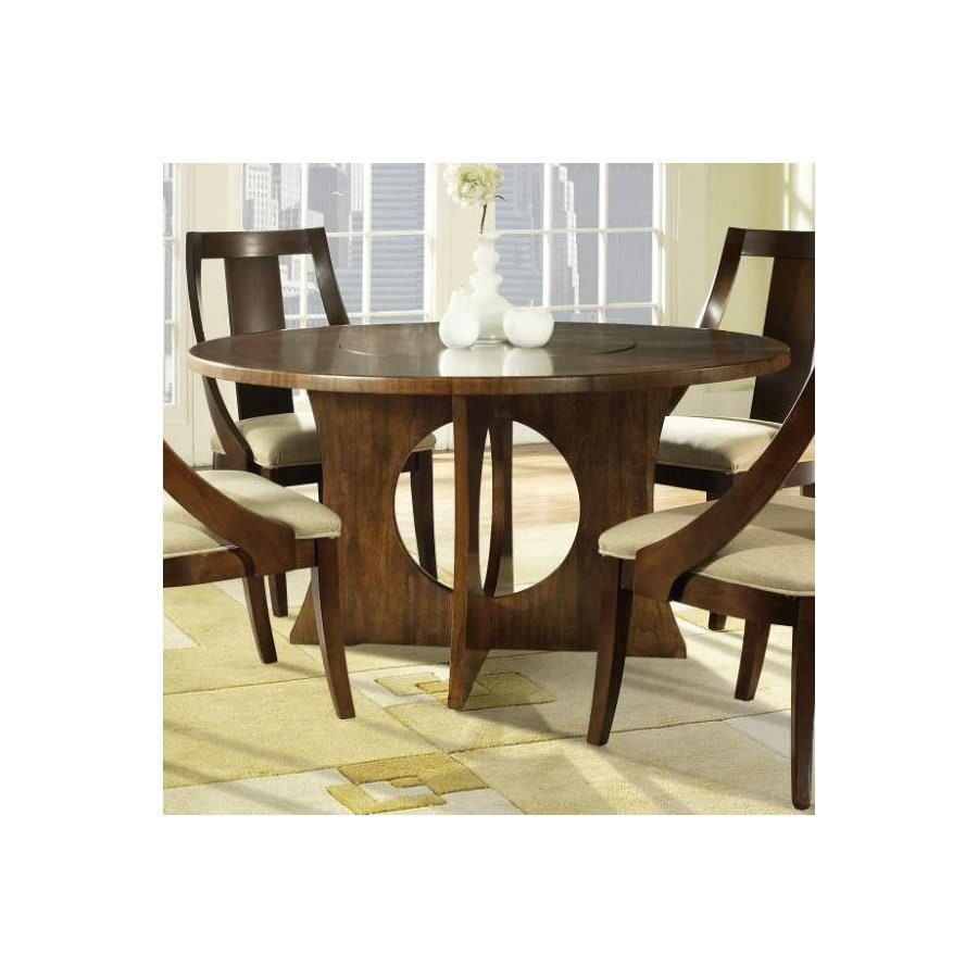 Furnishings Manhattan Walnut Brown Round Dining Table At