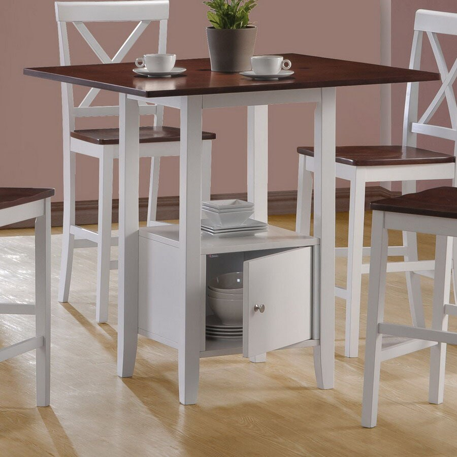 Monarch Specialties White Walnut Square Counter Height Dining Table