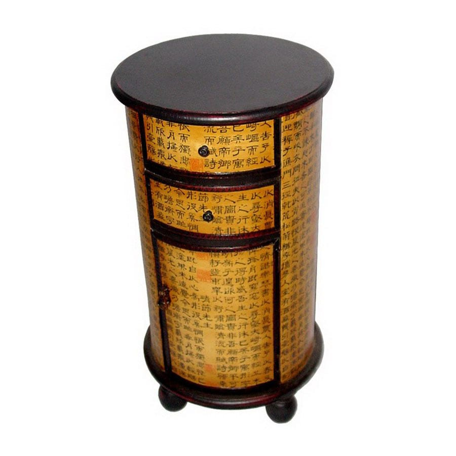 Oriental Furniture Chinese Art Design Brown Round End Table