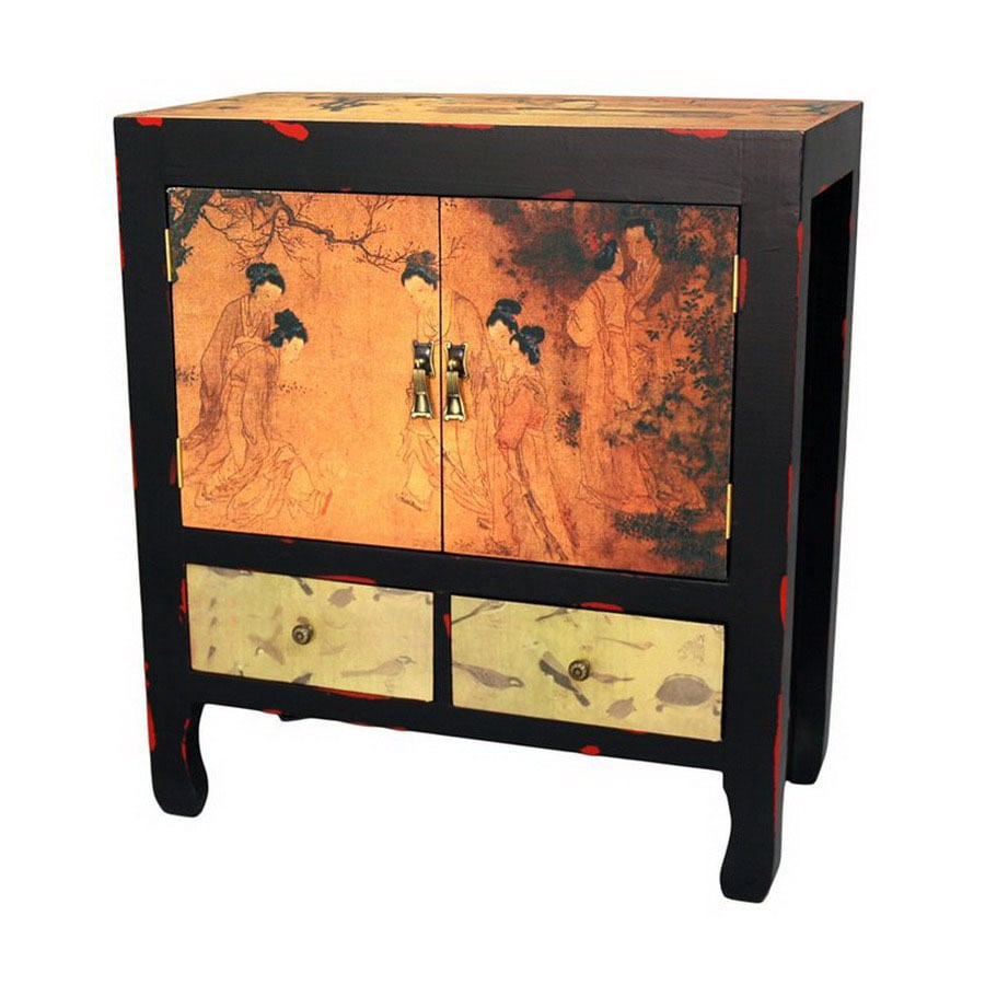 Oriental Furniture Multicolor Rectangular End Table